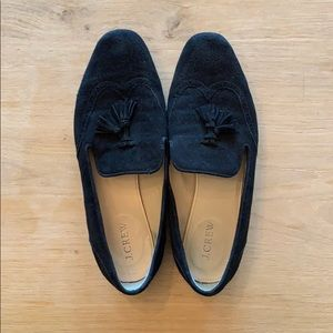J.Crew black suede loafers with tassles Size 8.5